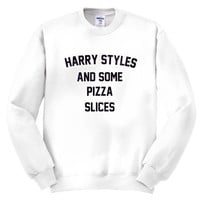 Harry styles and some pizza slices Crewneck sweatshirt unisex adults men's clothing women's clothing one direction pizza slices pizza