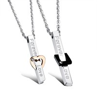 FATE LOVE Brand Couple Necklaces Men Women lover's Pendants Fashion Jewelry style Black Rose gold Color stainless steel Chain