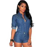 S-XXXL Women Plus Size Summer Denim Jumpsuit Shorts T-shirt+Short Overall Casual Jeans Romper  Blue Color