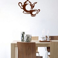 Wall Vinyl Sticker Decal Art Design Coffee and Tea Dishware Cafe Kitchen Room Nice Picture Decor Hall Wall Chu294