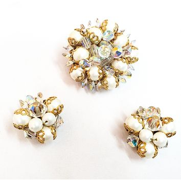 Austrian crystal and faux pearl gold toned brooch and clip on earrings demi parure set Mid century