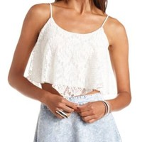 Textured Lace Swing Crop Top by Charlotte Russe