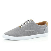 River Island MensGrey chambray lace up plimsolls