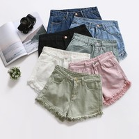 Summer Female White Jeans Shorts Korean Fashion Casual High Waist Black Denim Shorts Harajuku Street Wear Tassel Pink Hot Shorts