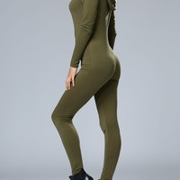 Casual Sexy Designed Hooded Zips Solid Slim-Leg Jumpsuit