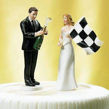 Bride at Finish Line with Victorious Groom Figurine Victorious Groom with Champagne Bottle Figurine (Pack of 1)