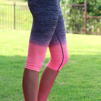 Ombre Yoga Capri Leggings {Coral}
