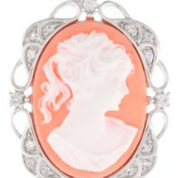 """Sterling Silver Pink Cameo Oval with Created White Sapphire Pendant Necklace, 18"""""""
