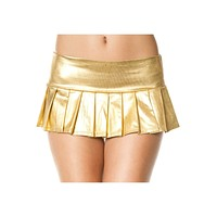 Wet Metallic Pleated MicroSkirt