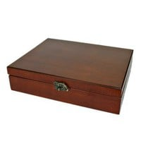 Old World Wooden Treasure Box with Brass Latch