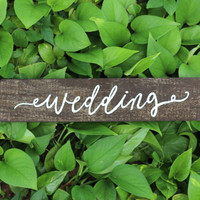 Rustic Wooden Wedding Sign with Directional Arrow - Rustic Weddings
