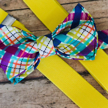 Baby Bow Ties and Suspender Set,  Easter Bow Tie and Suspenders, Easter Bow Tie, Baby Bow Tie Suspenders, Suspenders and Bow Tie for Boys