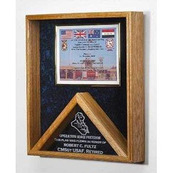 Military certificate and Flag Case - Flag Shadow Box Holds 3 x 5ft Folded Flag
