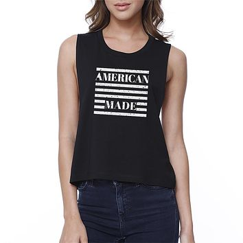 American Made Funny Graphic Crop Shirt For Women 4th of July Gifts