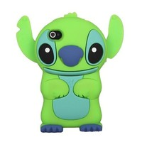 eFuture Green Cute 3D Stitch with Movable Ears Silicone Rubber Soft Case Cover Fit for the Iphone4/4S +eFuture's nice Keyring