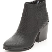 Black Crocodile Textured Block Heel Shoe Boots