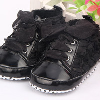Baby Shoes Girls Toddler Soft Sole with Rose Flowers children shoes Infant Lace Shoes NW