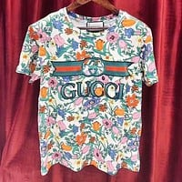 GUCCI Summer Popular Women Men Casual Embroidery Short Sleeve T-Shirt Top Blouse