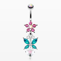 Butterfly Flower Sparkle Belly Button Ring