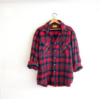 20% OFF SALE Vintage boyfriend flannel / red and green plaid shirt / grunge shirt / tomboy shirt