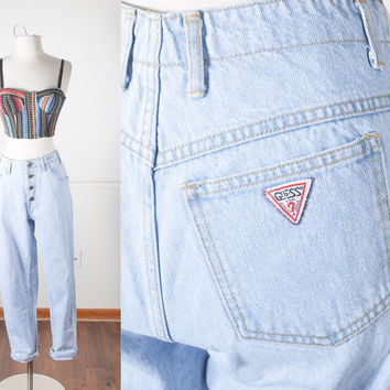 1980s GUESS Jeans / High Waisted Skinny Jeans / 90s Grunge Jeans / Light Blue Denim / Vintage 80s Jeans / Tight Jeans / Button Fly Jeans