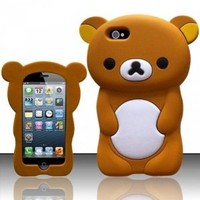 eFuture(TM) Brown 3D Rilakkuma Bear Silicone Soft Case Cover fit for the new Iphone5 5G +eFuture's nice Keyring