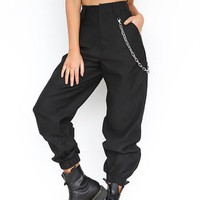 Black Plain Chain Zipper Pockets High Waisted Casual Long Pants