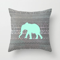 Mint Elephant Throw Pillow by Sunkissed Laughter