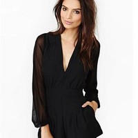 Sexy Lace Mosaic V-neck High Rise Long Sleeve Jumpsuit [6048300673]