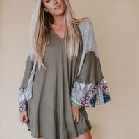Floral Haze Thermal Bell Sleeve Dress - Olive