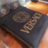 Comfortable VERSACE 4 PC Bedding Set Conditioning Throw Blanket Quilt For Bedroom Living Rooms Sofa