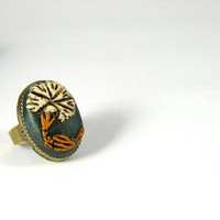 Ring - Adjustable, Antique Finish, Oval, Opal Green Ring with An Ottoman Style Carnation