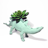 Up-cycled Huge Sea Glass Stegosaurus Dinosaur Planter