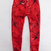 Red Rose Emoji Print Leisure Pants