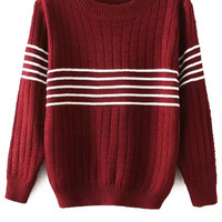 Striped Splicing Long Sleeves Sweater