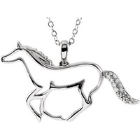Sterling Silver Diamond Horse Necklace