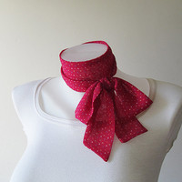 Pink Skinny Scarf, Long Thin Scarf with Angled Ends, Polka Dot Chiffon Scarf, Narrow Scarf, Neck Tie, Headband, Spring Summer Accessories