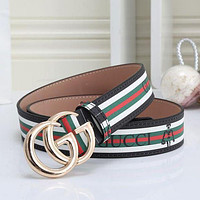 GG mens and womens double G letter buckle smooth buckle belt-14