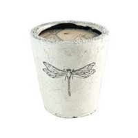Dragonfly Scented Candle in Pot ~ White
