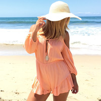Simple Style Romper In Coral