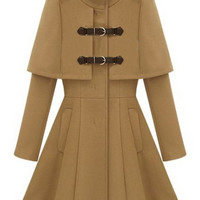 Camel Stand Collar Epaulet Buckle Detail Cape