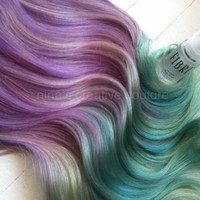 """Ombre Hair Extensions, Festival Hair, Hair Extensions, Burning Man, Lavender and Icy Blue Green, 18"""", 7 Pieces, 100 grams"""