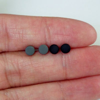 4mm Tiny Matte Black Studs and Matte Gray Studs Unisex Earring Set of Post Studs