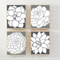 Gray Flower Wall Art, Gray Bathroom Decor, Succulent Flower CANVAS or Print Gray Floral Bedroom Wall Decor, Set of 4 Gray Floral Wall Decor