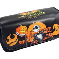 Nightmare Before Christmas Bag  Movie Pumpkin Jack Large Double Zipper Pen Pencil Stationery Bag Anime Comestic Purse