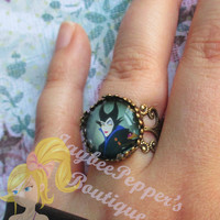 Sleeping Beauty jewelry Maleficent ring gothic style crown ring summer vacation fun woman teens cute Christmas gift crown disney villain