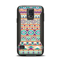 The Tan & Teal Aztec Pattern V4 Samsung Galaxy S5 Otterbox Commuter Case Skin Set