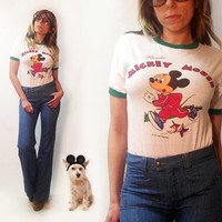 Rare Vintage 1970's 1980's Florida Running Mickey Mouse Ringer Raglan Tee || Mens XS to Small Ladies Small to Medium