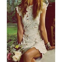 Cuts Floral Hollow Dress