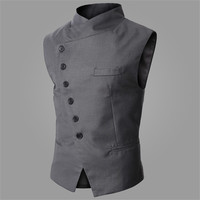 Brand New Suit Vest Men Fashion High Quality Black Gray Formal Business Men Dress Vests Slim Fit Casual Sleeveless Jacket Men